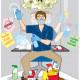 férfi takarítja az irodát